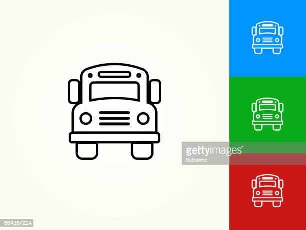 School Bus Black Stroke Linear Icon