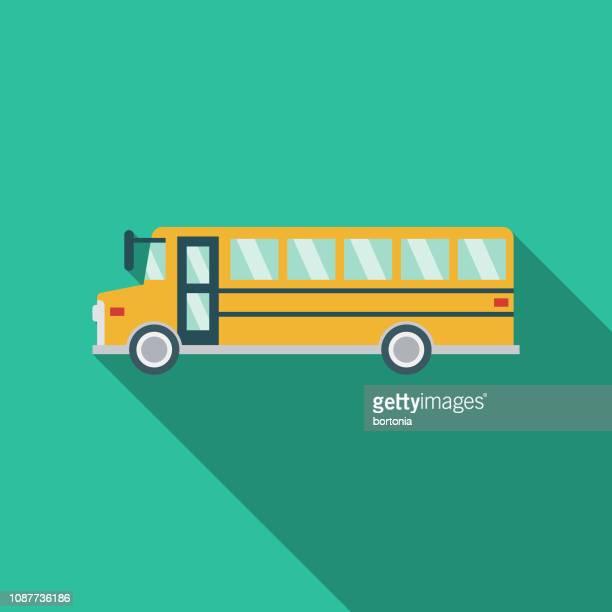 school bus flat design prom icon - bus stock illustrations