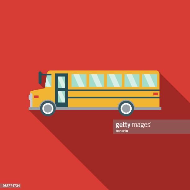 school bus flat design transportation icon - bus stock illustrations