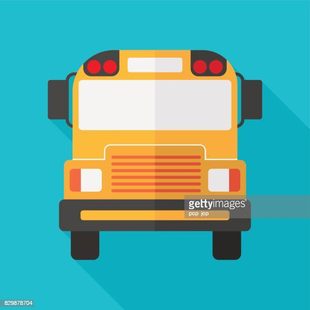 School Bus Flat Icon Isolated