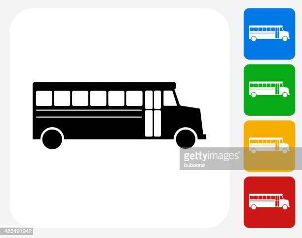 School Bus Icon Flat Graphic Design