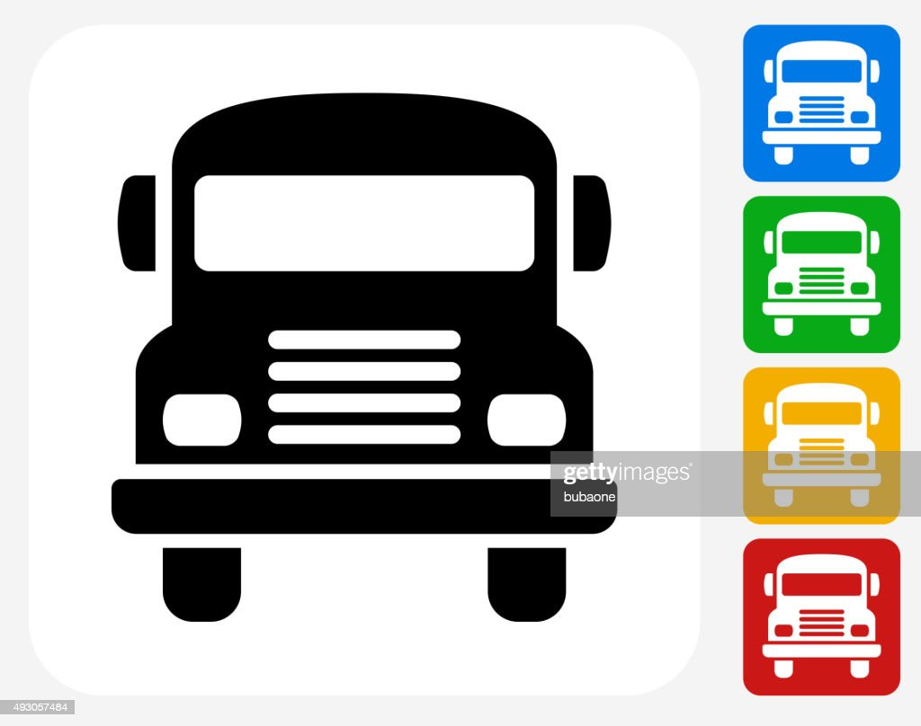 School Bus Icon Flat Graphic Design : stock illustration