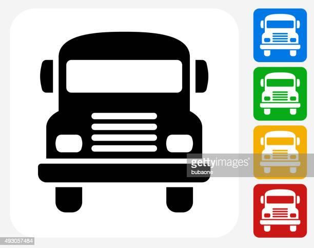 School Bus Icon Flat Graphic Design