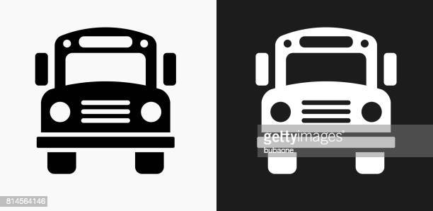 School Bus Icon on Black and White Vector Backgrounds
