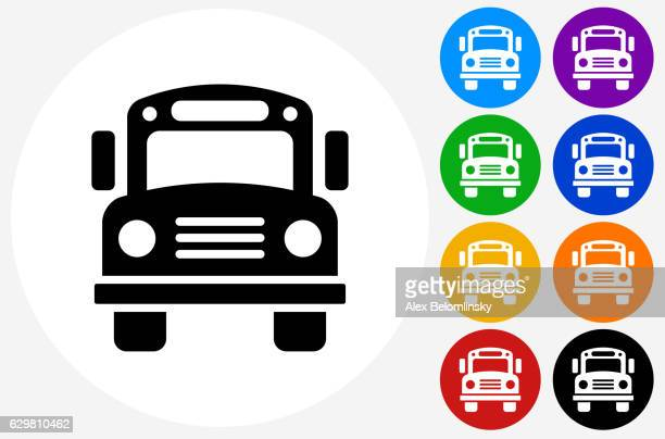 School Bus Icon on Flat Color Circle Buttons