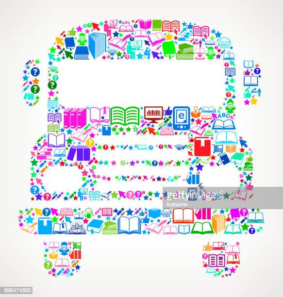 School Bus Reading Books and Education Vector Icon Background