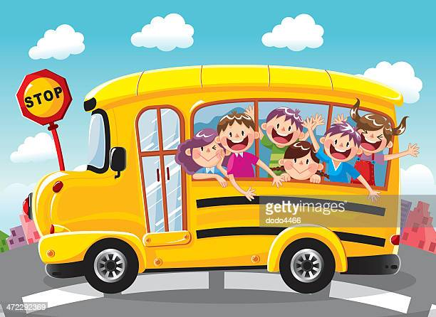 Illustrations et dessins anim s de bus scolaire getty images - Bus scolaire dessin ...
