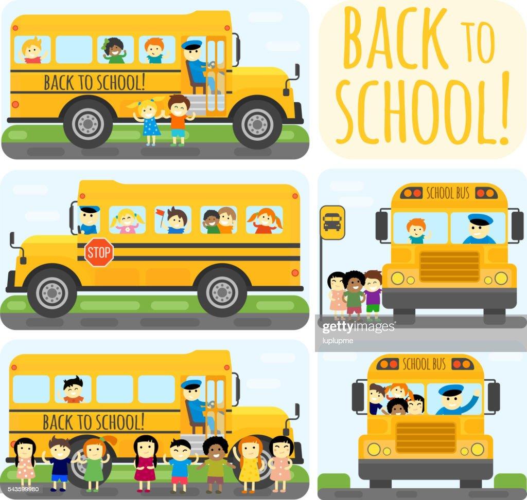 School bus vector set.