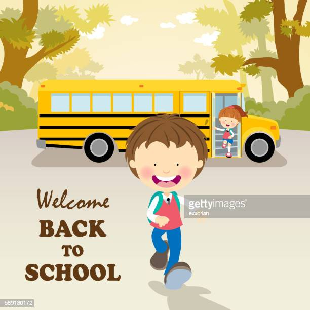 school bus with students - disembarking stock illustrations