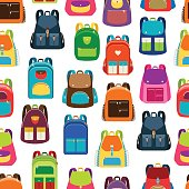 School cartoon pattern with colorful backpacks