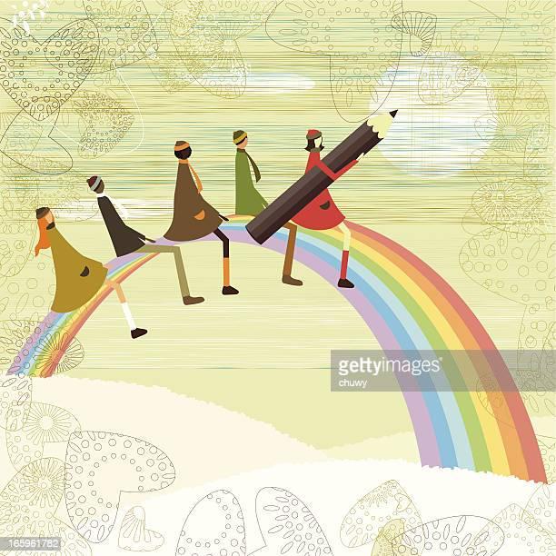 Escuela, niños y rainbow