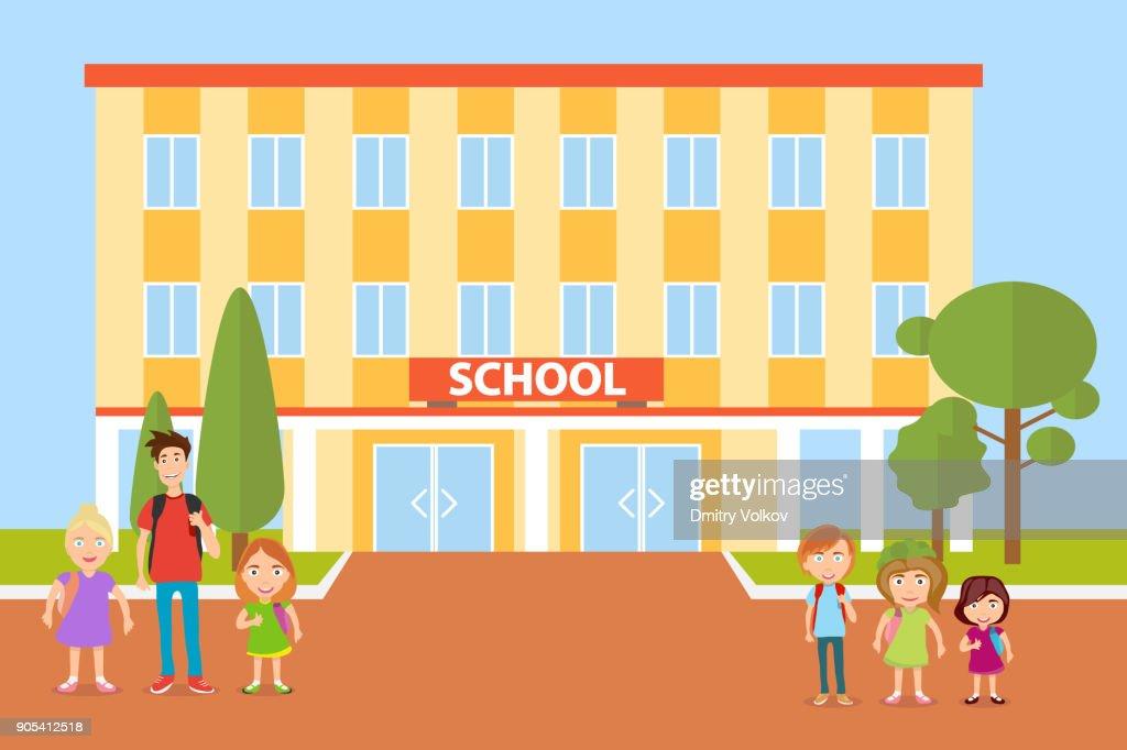 School, children go to school. Pupils.