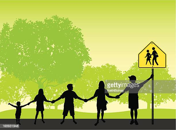 school children holding hands background - crossing sign stock illustrations, clip art, cartoons, & icons