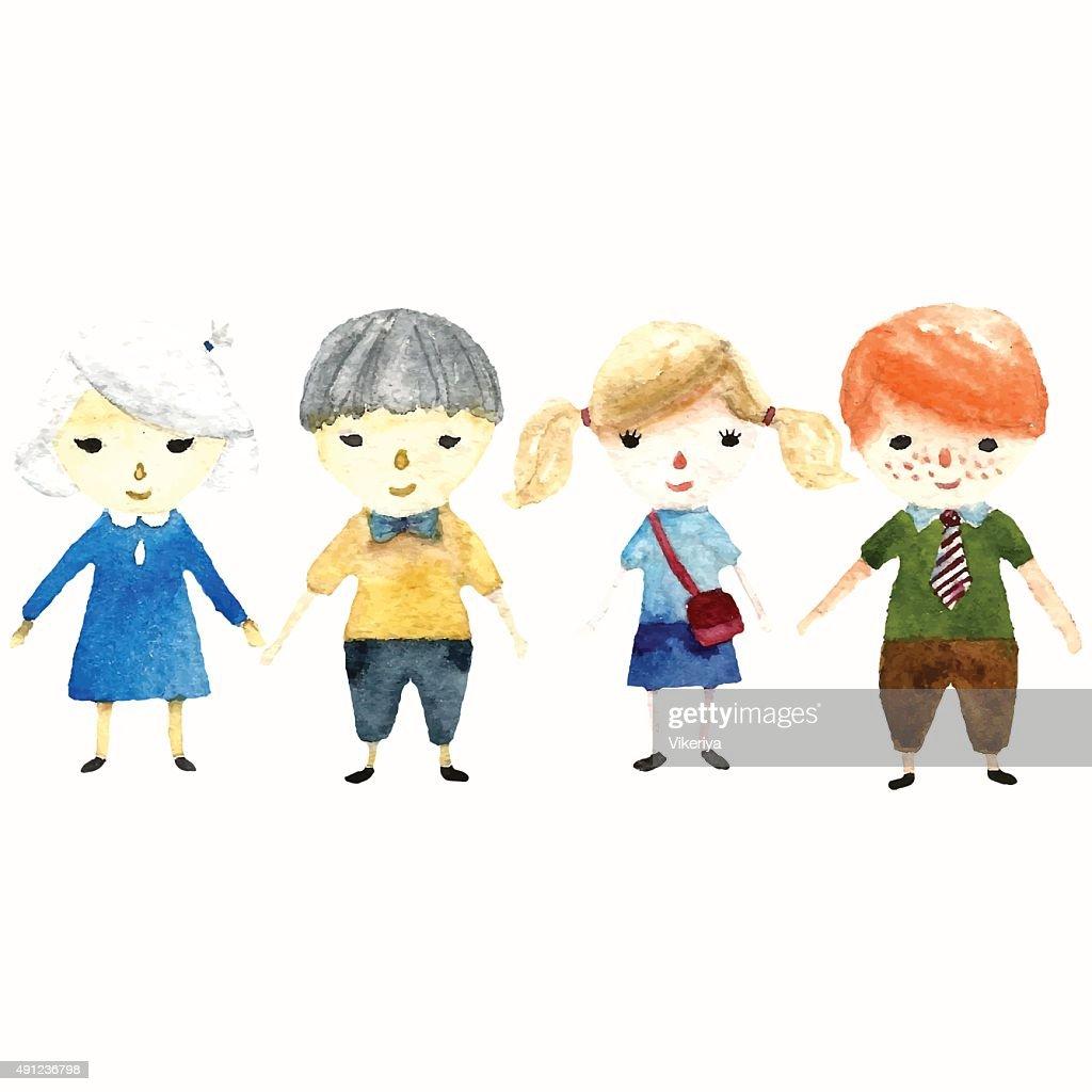 School children illustration.