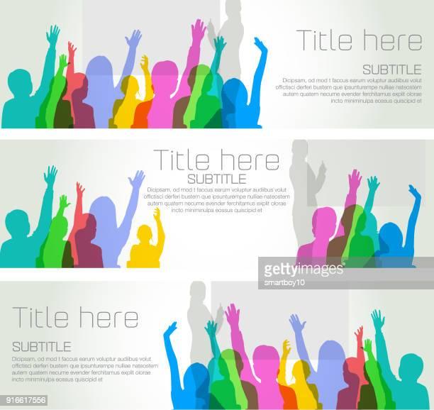 schülerinnen und schüler im klassenzimmer banner - freiwilliger stock-grafiken, -clipart, -cartoons und -symbole
