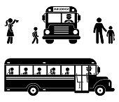 School children sitting in the bus. Stick figure back to school icon