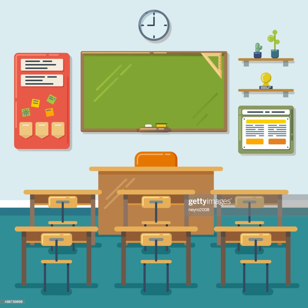 School classroom with chalkboard and desks. Vector flat illustration