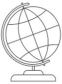 School college university line art icon poster globe.