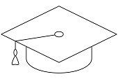 School college university line art icon poster hat brush.