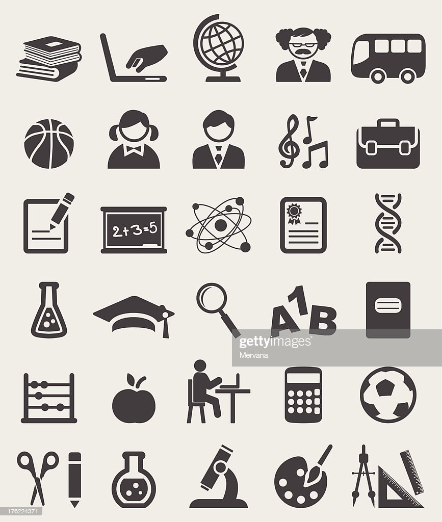 School complete icons set. Vector