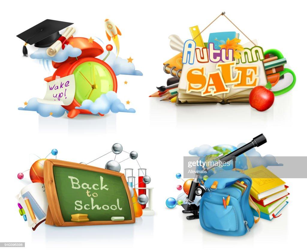 School concepts, 3d vector set