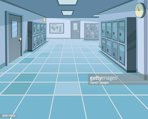 school corridor - corridor stock illustrations, clip art, cartoons, & icons