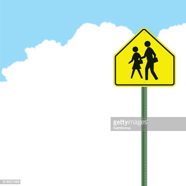 school crossing sign background - crossing sign stock illustrations, clip art, cartoons, & icons