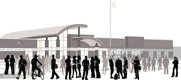 school crowd vector silhouette - high school student stock illustrations, clip art, cartoons, & icons