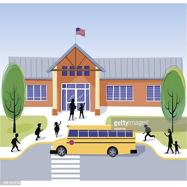 ilustraciones, imágenes clip art, dibujos animados e iconos de stock de escuela día - edificio de escuela primaria