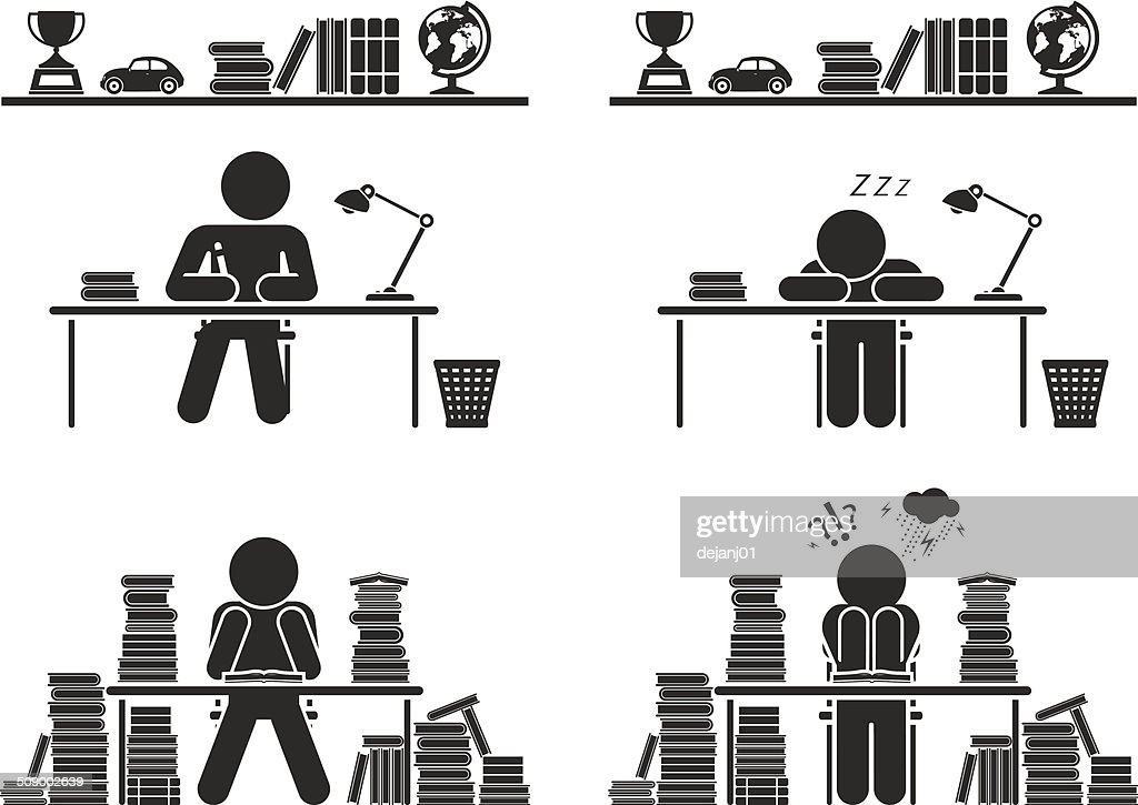 School Days Pictogram Icon Set School Children Stock