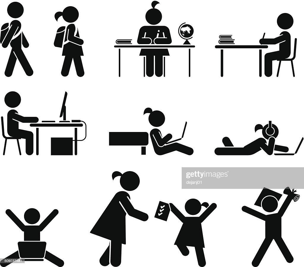 School days. Pictogram icon set. School children.