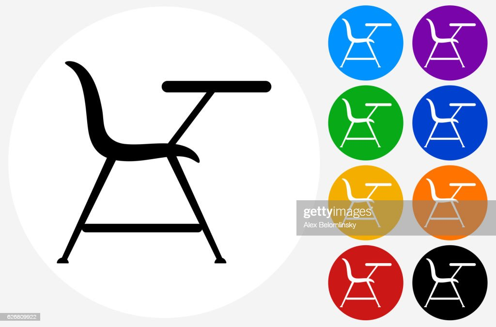 School Desk Icon On Flat Color Circle Buttons Stock Illustration