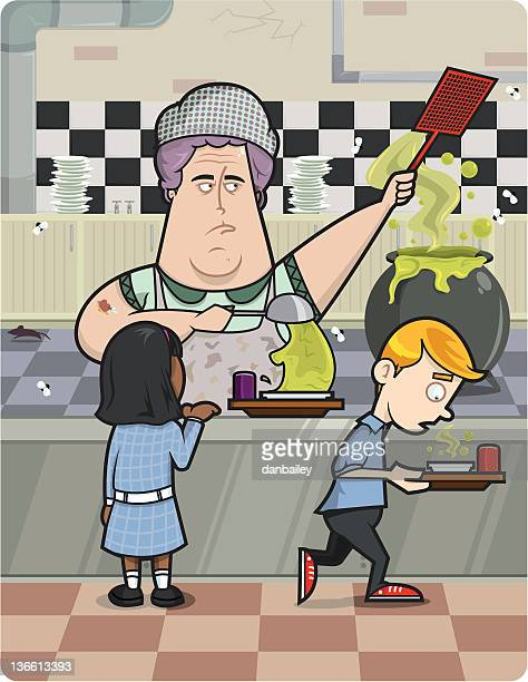 school dinners - fat female cartoon characters stock illustrations, clip art, cartoons, & icons