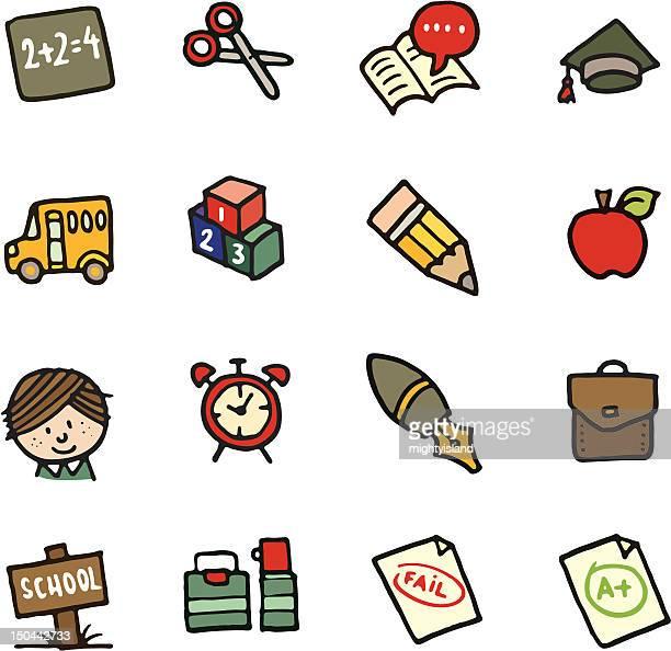 Schule doodle icon-set