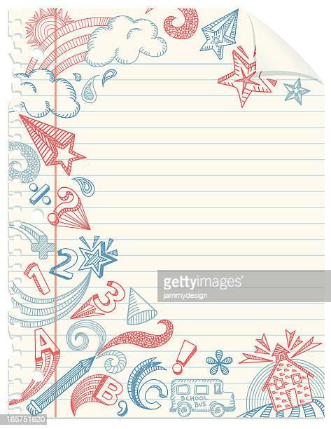 School Doodles Notebook Paper