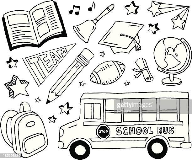 school doodles - pencil drawing stock illustrations