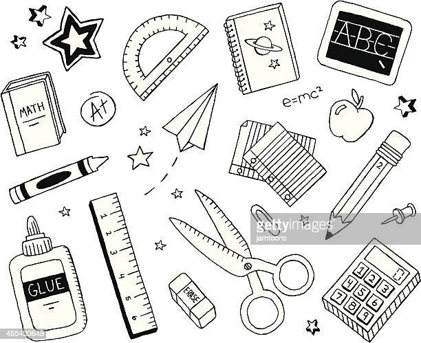 school doodles - pencil stock illustrations, clip art, cartoons, & icons