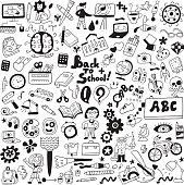 school education , art tools - cartoons set