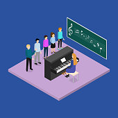 School Education Concept 3d Isometric View. Vector