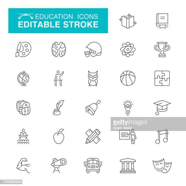 schule bildung editierbare schlaganfall icons - literatur stock-grafiken, -clipart, -cartoons und -symbole