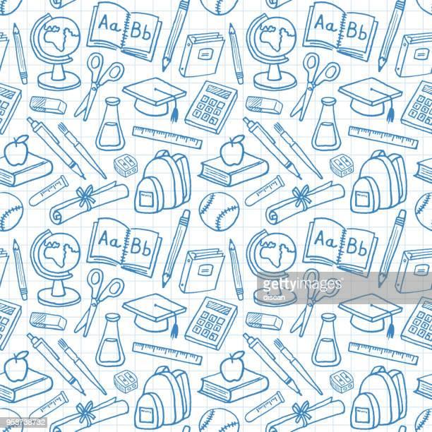 学校教育卒業シームレス パターン - 試験点のイラスト素材/クリップアート素材/マンガ素材/アイコン素材