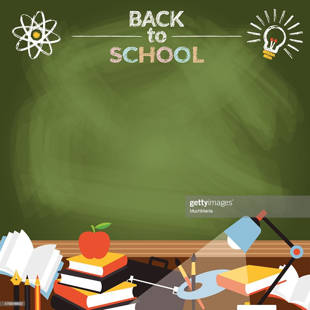 School, Education, Objects with Copy Space Chalk Drawing Style