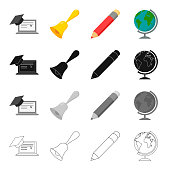 School, educational institution and other web icon in cartoon style.Geography, drawing, objects icons in set collection.