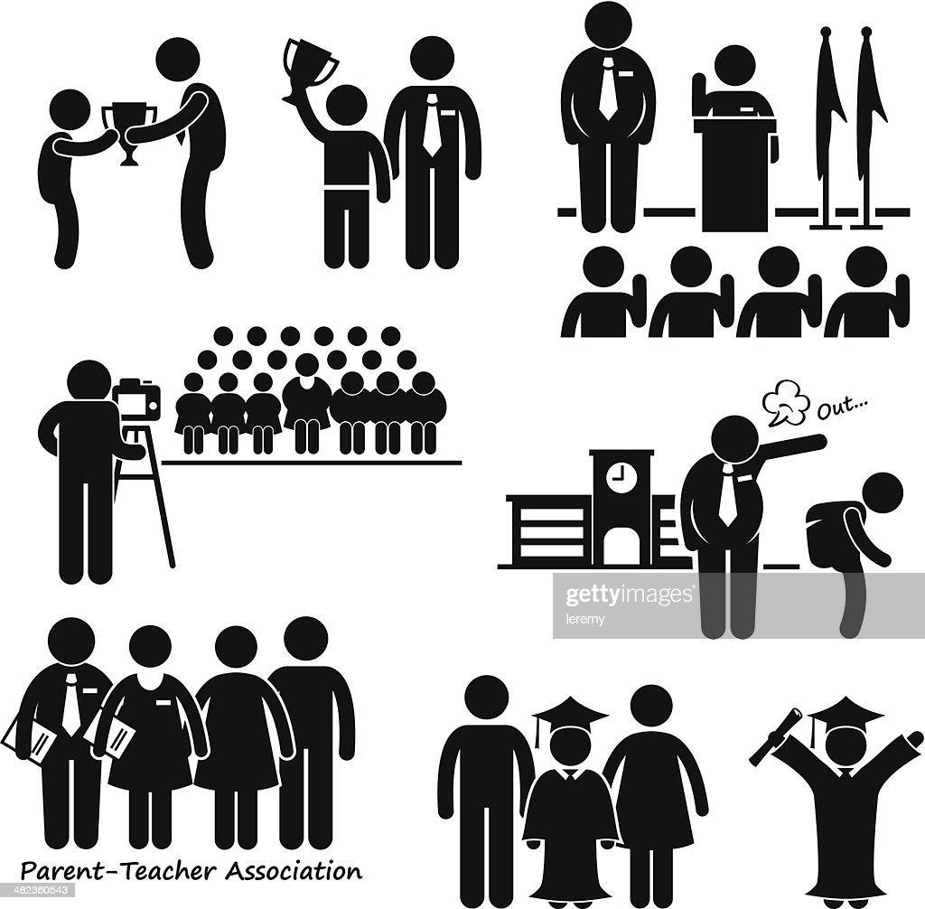 School Events Student Teacher Parent Stick Figure Pictogram Icon Clipart
