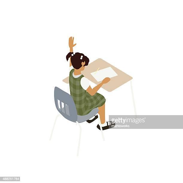 School girl at desk illustration