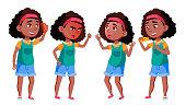 School Girl Set Vector. Black. Afro American. Positive Kid. For Postcard, Cover, Placard Design. Isolated Cartoon Illustration