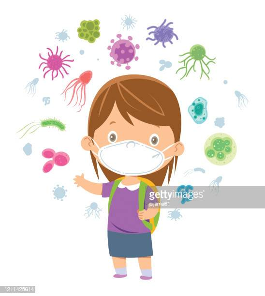 school girl with surgical mask - cartoon cancer stock illustrations