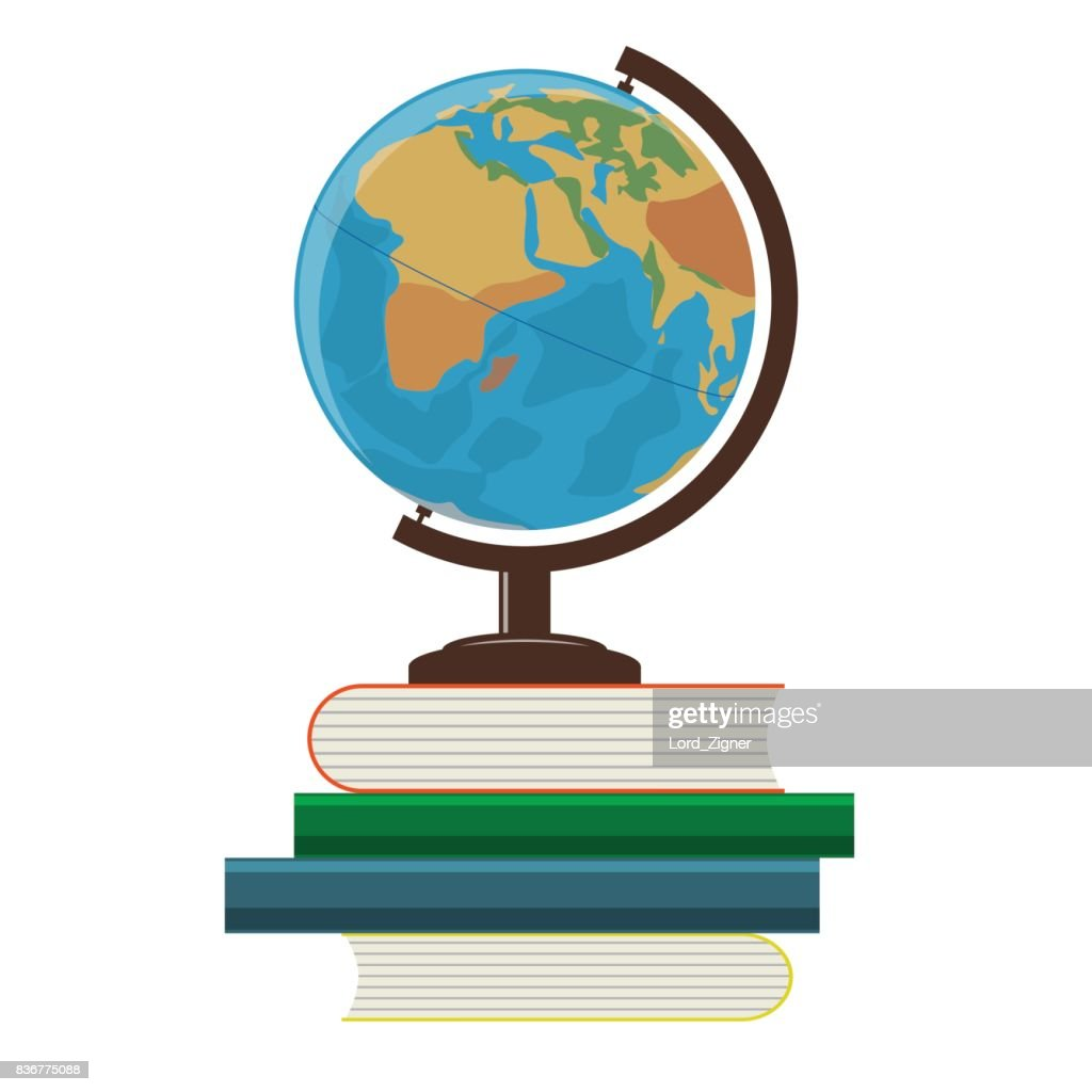 School globe and books on a white background. Vector Illustration