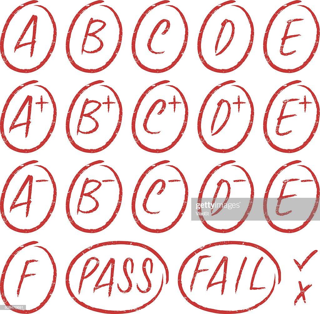 School grades - Rubber stamps
