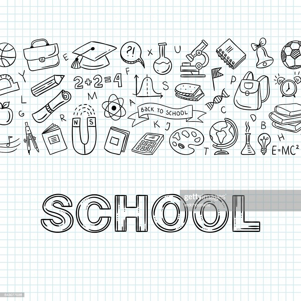School hand drawn icons. Education vector objects. Back to school